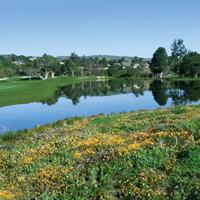 A view of the fifteenth hole, a beautiful par four by the lake and wild flowers.  Corral de Tierra Country Club championship golf course on the Monterey Peninsula off Highway 68 between Monterey and Salinas.