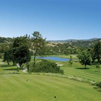 The tenth hole par four has an elevated tee box and a narrow fairway. The trees on the right and left side of the fairway create a challenging tee shot.  Corral de Tierra Country Club championship golf course on the Monterey Peninsula off Highway 68 between Monterey and Salinas.