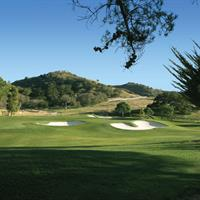 The par three eight hole is an uphill short iron shot to a back to front sloping green.   Corral de Tierra Country Club championship golf course on the Monterey Peninsula off Highway 68 between Monterey and Salinas.