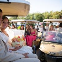 Wedding parties enjoying the beautiful weather and golf cart ride to the 2nd hole of the Corral de Tierra Country Club's championship golf course for their perfect wedding setting.